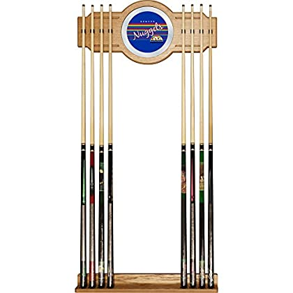 Image of Billiards NBA Denver Nuggets Cue Rack with Mirror, One Size, Brown
