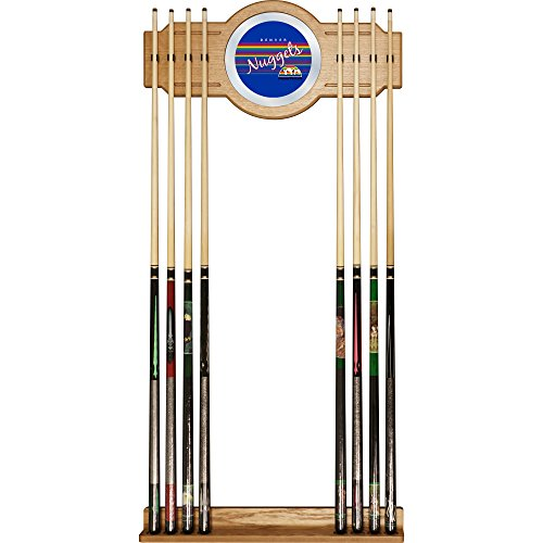 NBA Denver Nuggets Cue Rack with Mirror, One Size, Brown by Trademark Global