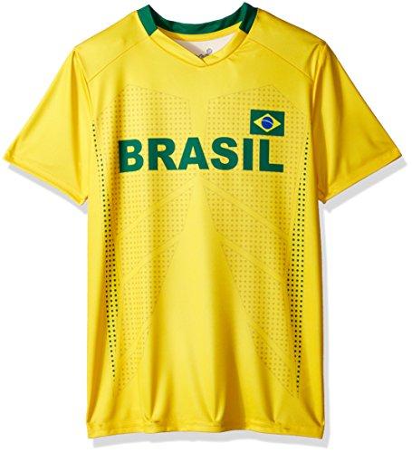World Cup Soccer Brazil Youth Boys Federation Jersey Short sleeve Tee, Medium (10-12), Yellow