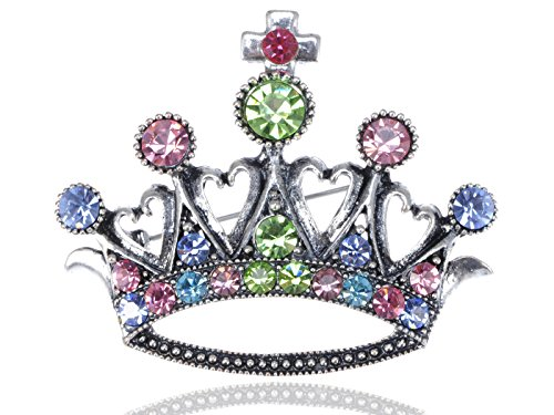 (Alilang Multi-Colored Czech Crystal Rhinestone Royal Crown Fashion Jewelry Pin Brooch)