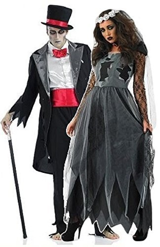Ladies and Mens Couples Dead Deceased Corpse Ghost Zombie Bride & Groom Halloween Horror Fancy Dress Costumes Outfits (Ladies UK 8-10 & Mens Large) Black ()