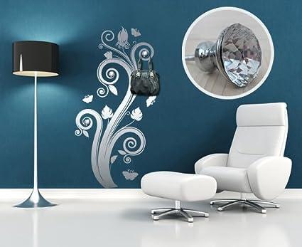 Pegatina Mural perchero Wall Art Flores con joyas - Medidas ...
