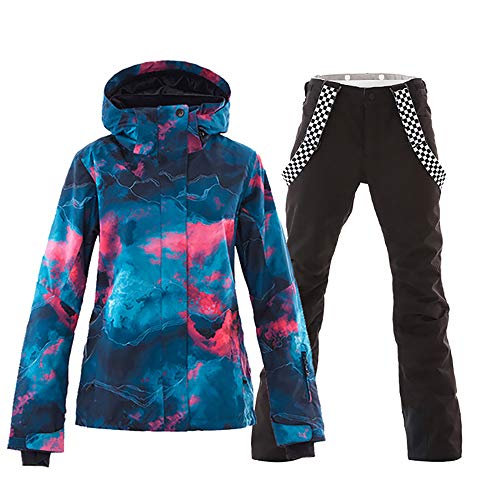 - Mous One Women's Waterproof Ski Jacket Colorful Snowboard Jacket and Black Bib Pant Suit(M)