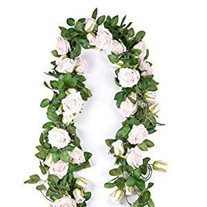 Flojery 6.5 Ft Artificial Flower Vine Silk Rose Garlands,Backdrop,Wedding Arch,Centerpieces,Home Decor,Pack of 2 (Pink)