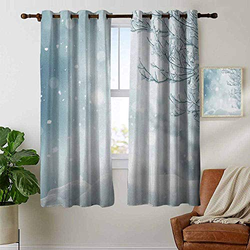 """petpany Thermal Insulated Blackout Curtain Winter,Christmas Image Snow and Frosted Tree Snowflakes Winter Season Illustration, Slate Blue White,Blackout Draperies for Bedroom Living Room 42""""x45"""""""