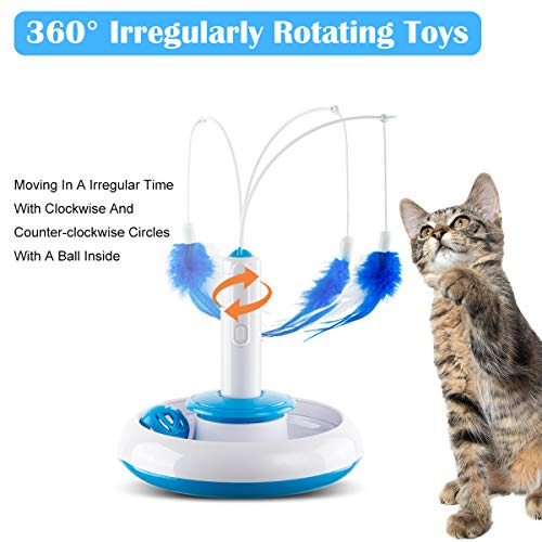 Hollypet Electric Cat Teasing Toy 360 Degree Mute Training Pet Toy Kitten Rotate Feather Interactive Toy 4