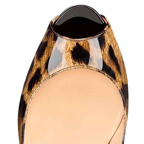 Arc-en-Ciel zapatos de plataforma de la mujer peep toe de tacón alto-leopard-us14