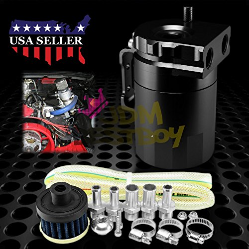 Black Billet Aluminum Engine Oil Catch Reservoir Breather Tank Can Cylinder With Filter #3 by JDMBESTBOY (Image #6)