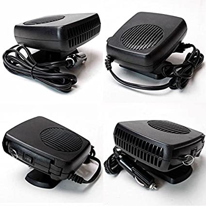 Car Fan Heater Delaman Car Demister Defroster Convenient Movable Black 12V 150W 2 in 1 Car Vehicle Heater Heating Cool Fan Windscreen