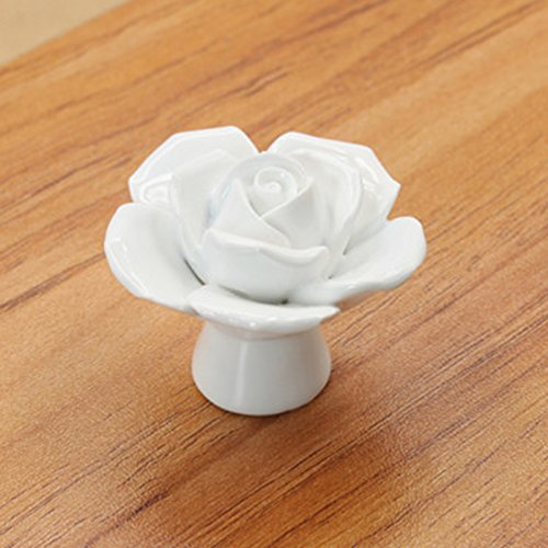 (Ocamo Vintage Ceramic Knobs Rose Flower Drawer Cupboard Door Porcelain Pull Handle White 41x34x41mm)