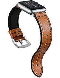 Sweatproof Hybrid Leather Sports Watch Band Vintage Replacement Bands for Apple Watch iwatch Series 4 3 2 1 Dark Brown Replacement Straps with Sliver Stainless Steel Buckle Clasp (38mm/40mm, Brown)