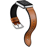 Sweatproof Hybrid Leather Sports Watch Band Vintage Replacement Bands for Apple Watch iwatch Series 4 3 2 1 Dark Brown Replacement Straps with Sliver Stainless Steel Buckle Clasp (42mm, Brown)