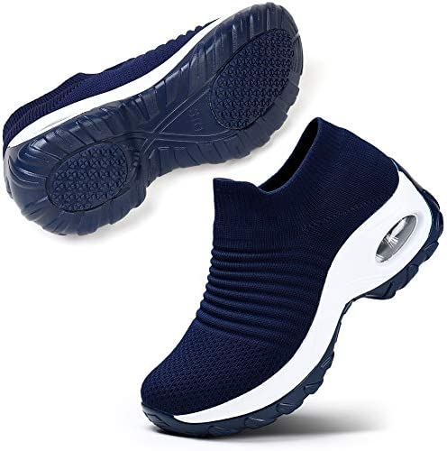 STQ Slip On Breathe Mesh Walking Shoes Women Fashion Sneakers Comfort Wedge Platform Loafer