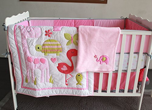 NAUGHTYBOSS Baby Bedding Set Cotton 3D Embroidery Flamingos Giraffe Elephant Butterflies Quilt Bumper Bedskirt Fitted Blanket 8 Pieces Pink by NAUGHTYBOSS