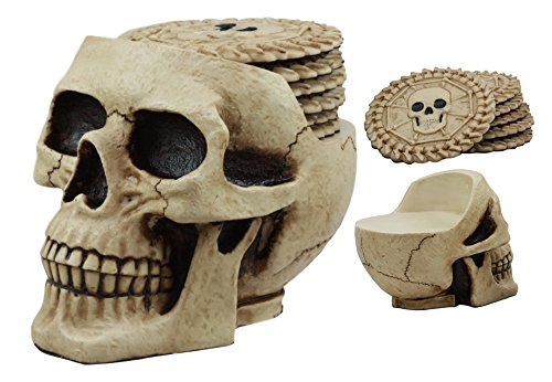 (Ebros Day of The Dead Ossuary Skull Cranium Coaster Set Statue Holder with 6 Skeleton Bone Coasters Made of Resin)