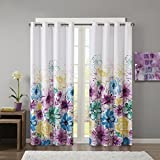 Intelligent Design Blue Blackout Curtains for Bedroom, Casual Room Darkening Window Curtains for Living Room Family Room, Olivia Floral Grommet Black Out Window Curtain, 50X84, 1-Panel Pack