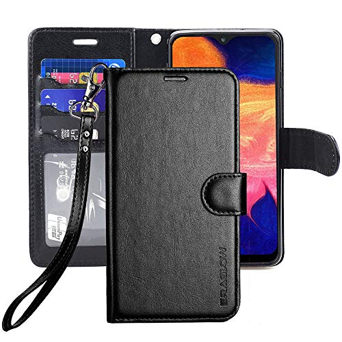 ERAGLOW Galaxy A10E Case,Galaxy A10E Wallet Case,Premium PU Leather Wallet Flip Protective Phone Case Cover w/Card Slots & Kickstand for Samsung Galaxy A10E A10 E 2019(Black)