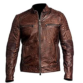 Cafe Racer Leather Jacket Vintage Mens Biker Brown Waxed Distressed (Large)