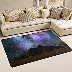 Egyptian Sphinx And Pyramid Playmat Floor Mat For Dining Room Living Room Bedroom, Size 5'X3'3