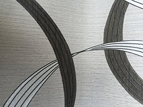 QIHANG High-grade Geometric Streamer Embossed PVC Wallpaper Roll Black&Gray 0.53m*10m=5.3㎡