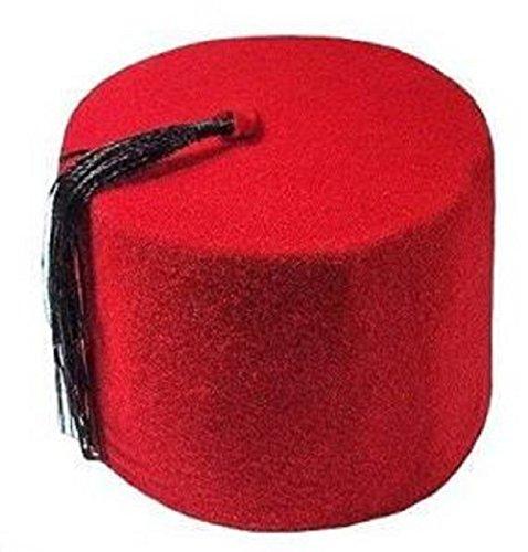 Egyptian Adult Red Fez Tarboush Tarboosh Turkish Ottoman Hat Black Tassel Large Traditional 215