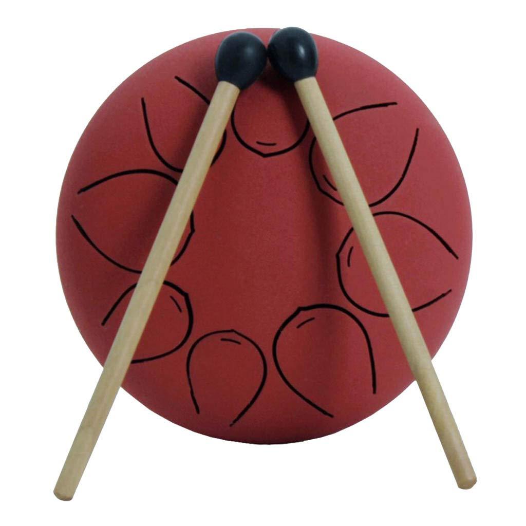 gazechimp 5Inch Steel Tongue Drum Handpan Drum Instrument 8 Notes Zen Drum Craft Gift for Kids Beginners Music Lovers - Red