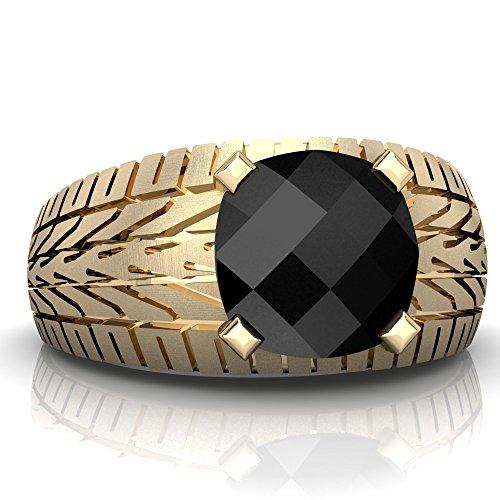(14K Yellow Gold Black Onyx Cushion Tire Tread Men's Ring - Size 8)