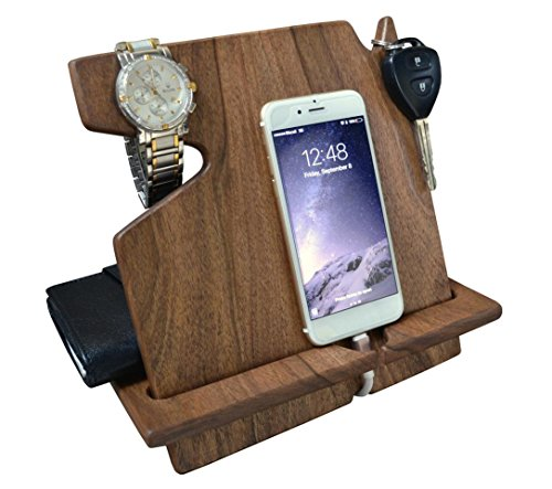 Wood Phone Docking Station Dark Walnut with Key Holder, Wallet Stand and Watch Organizer Men's Gift Compatible with Any Phone by MyFancyCraft
