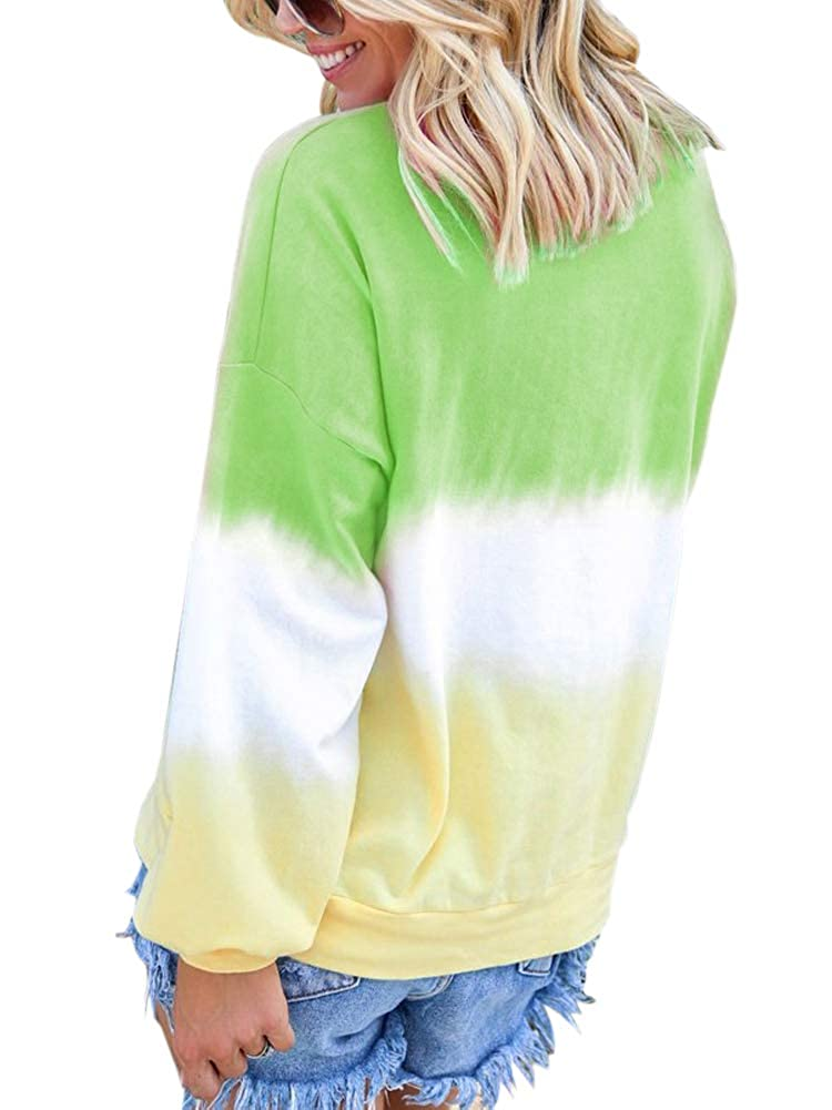 JURIS Women Casual Gradient Printed Long Sleeve T-Shirt Top Pullover Sweatshirt