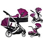 Kids Kargo Duellette 21 BS Combi Tandem double Twin pushchair Travel system Pram Raspberry
