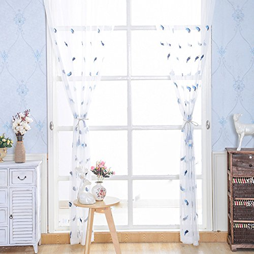 - ASide BSide Plumes Embroidered Rod Pockets Lodge Type Voile Draperies Home Treatment Sheer Curtains For Child Room Kitchen and Sitting Room (1 Panel, W 52 x L 63 inch, Blue)