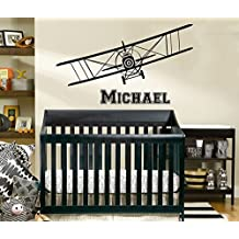 Airplane Wall Decal Name Vinyl Sticker Decals Personalized Custom Name Boys Biplane Decor Plane Decal Room Decor Bedroom Kids Gift Nursery ZX222