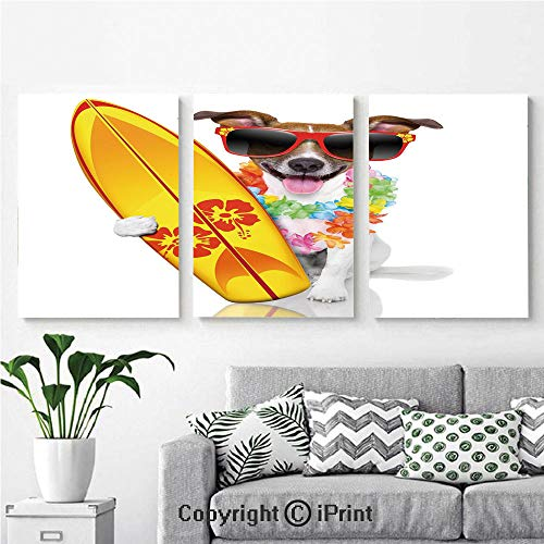 Wall Art Decor 3 Pcs High Definition Printing Surfer Puppy with Sunglasses and Tropical Hibiscus Flowers Hawaiian Dog Print Painting Home Decoration Living Room Bedroom Background,16