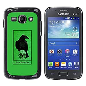 Ihec Tech Cuervo Cuervo verde cráneo Pájaro Oscuro / Funda Case back Cover guard / for Samsung Galaxy Ace 3