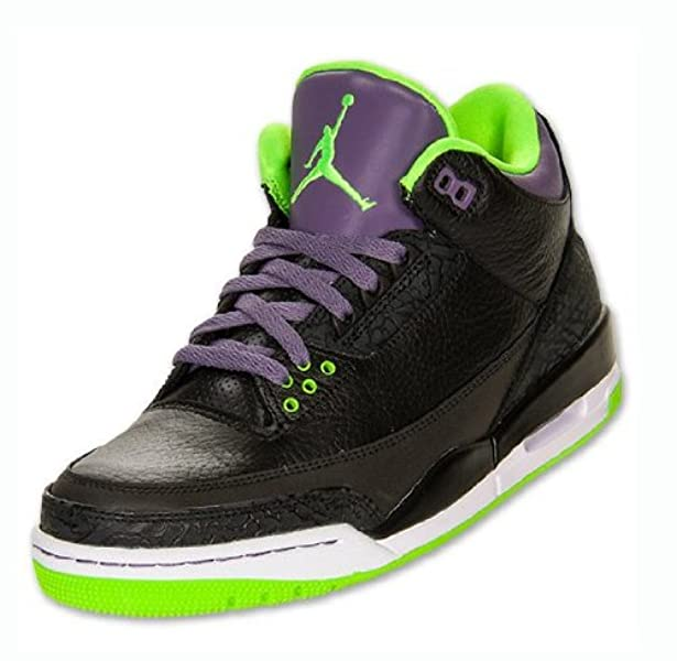 timeless design 5fae3 4622e ... inexpensive amazon nike mens air jordan 3 retro joker black electric  green canyon purple leather basketball