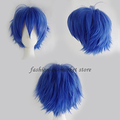 Synthetic Short Straight Fluffy Full Wig Oblique Fringe Curly Hair Tail for Anime Cosplay Costume Party for Men / Women (dark blue)