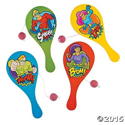 Wood Superhero Paddleballs Pack 12