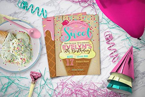 Ice Cream Party Invitations | Girl Birthday Party Invite PRINTABLE (Mod Invite)