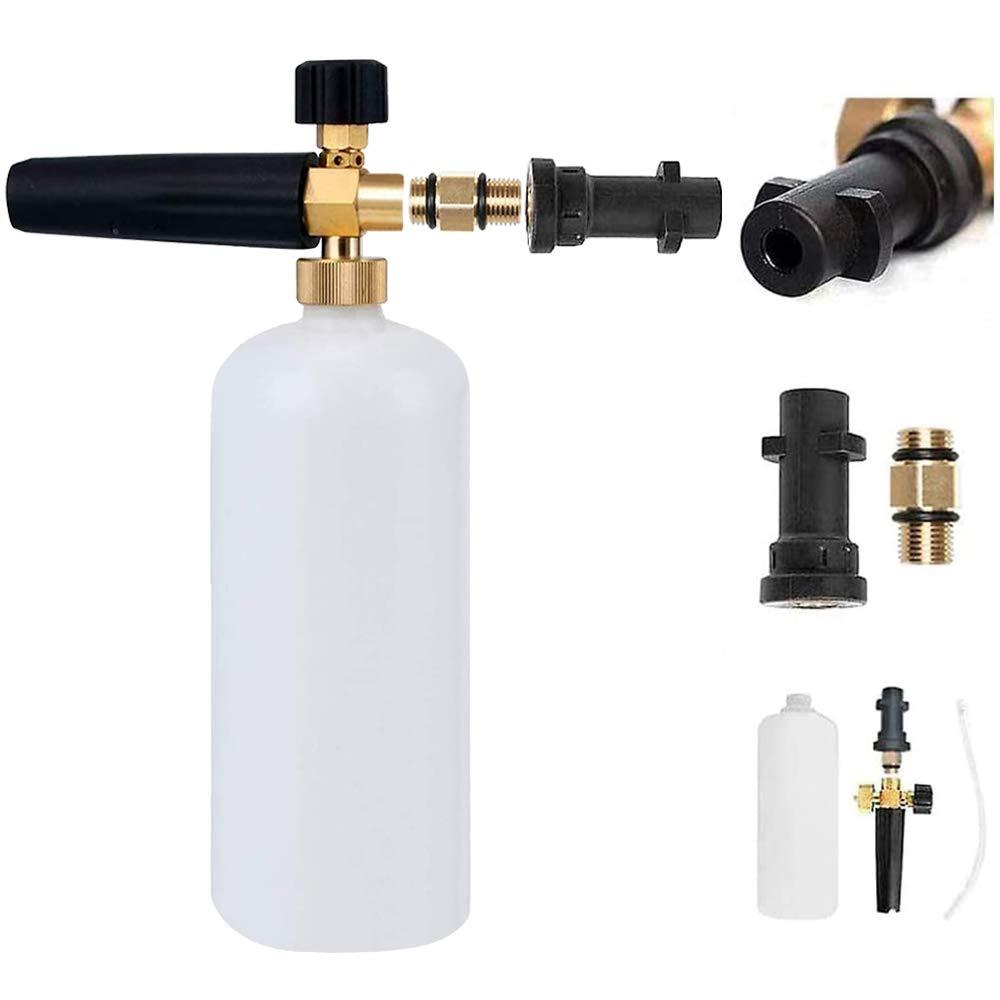 Adjustable Foam Cannon Snow Foam Gun Lance Bottle Nozzle Soap Dispenser Compatible with Karcher Pressure Washer K Series for Car Washing Cleaning(K2/K3/K4/K5/K6/K7)(with Waterproof Tape)