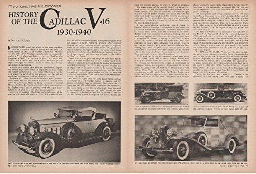 1940 Cadillac - 1930-1940 CADILLAC V-16 HISTORY NON-COLOR ARTICLE - USA - GREAT ORIGINAL !!