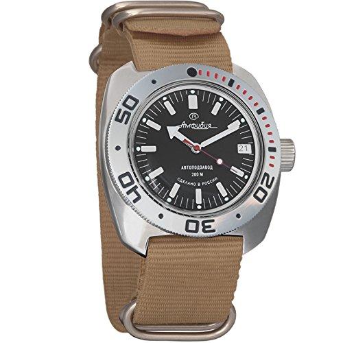 Vostok Amphibian Automatic Mens WristWatch Self-winding Military Diver Amphibia Ministry Case Wrist Watch #710662 (black)