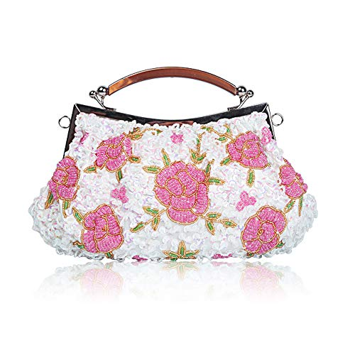 Glitter amp; Beaded Bags for Ball Vintage Bag Beads Handbag Enjoysports Flora Exquisite Bag Wedding Party Bridal White Women Handmade Evening Cluth Sequin FfH5Awq
