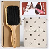 Hair Brush-BESTOOL Boar Bristle Paddle Brush with Detangling Pin, Detangler Brush for Mens Women Kids' Thick, Fine, Curly, Wave & Normal Hair, To Set Frizzy, Oil & Damaged Hair, Restore Natural Shine