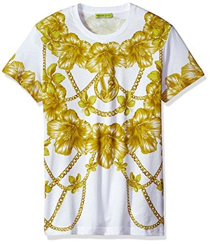 Versace Jeans Men's Gold Chain Print T-Shirt, Bianco, Small