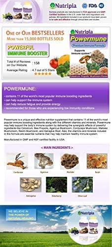 Powermuno Premium Immune Booster, Support 150 Vegi Caps – Elderberry, Propolis, Beta Glucan, Colostrum, Astragalus, Reishi, Cordyceps, Maitake, Agaricus Mushroom, Olive Leaf, Vitamin C, D, Zinc