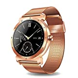 Smart Watch, K88H IP67 Waterproof Round Fitness Tracker IPS Screen Bluetooth 4.0 Heart Rate Monitor Sync Calls and Messages for iOS Android Phones (Color : Rose Gold Steel Strip)