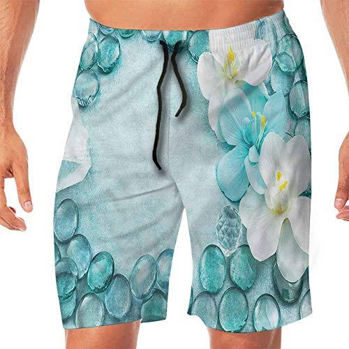 (Quick-Dry Beach Swim Shorts Aqua,Droplets Sea Salt and Orchids Swim Shorts Men M)