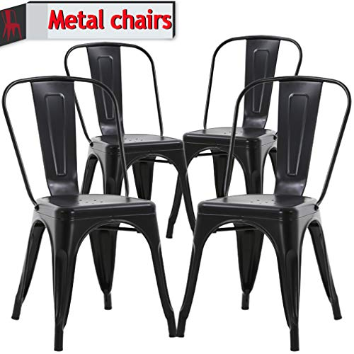 (Metal Chairs Outdoor Indoor Dining Chairs Side Stackable Restaurant Bistro Cafe Tolix Chairs with Back, Set of 4, Kitchen Farmhouse Pub Trattoria Industrial Metal Bar Chairs Hold Up to 330Lbs - Black)