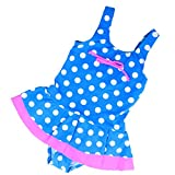 Girls Kids Swimsuit Beachwear Swimwear Childrens Swimming Costume 2-7 years L44 (116cm 4-5 years, Blue/White)