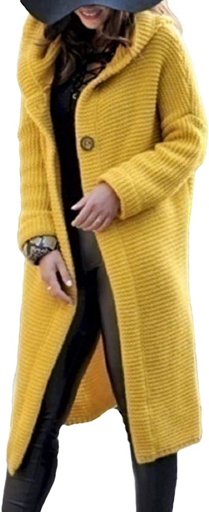 H2okp-009 Women Autumn Winter Solid Color Button Cardigan Sweater Midi Hooded Coat Outwear